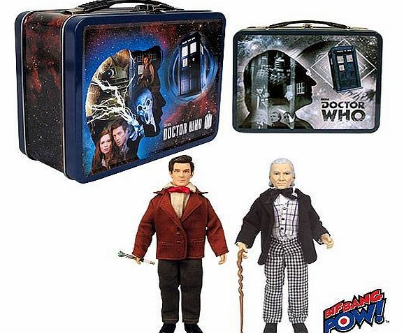 Doctor Who 50th Anniversary Exclusive Tin Tote Gift Set with Figures [The First & Eleventh Doctors] New!